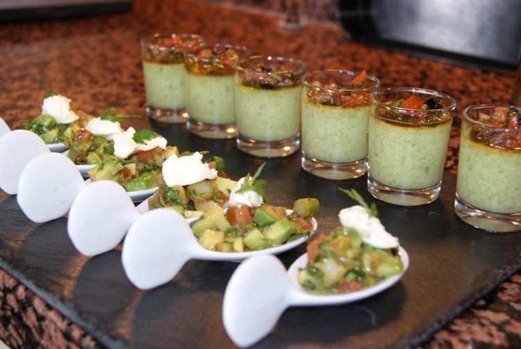 Asparagus custards and asparagus and avocodo tartare